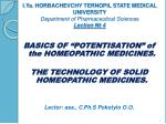 """BASICS OF """"POTENTISATION"""" of the HOMEOPATHIC MEDICINES."""