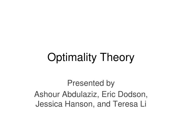optimality theory n.