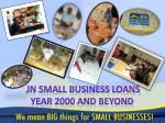 JN SMALL BUSINESS LOANS YEAR 2000 AND BEYOND