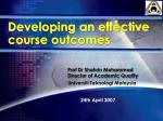 Developing an effective course outcomes