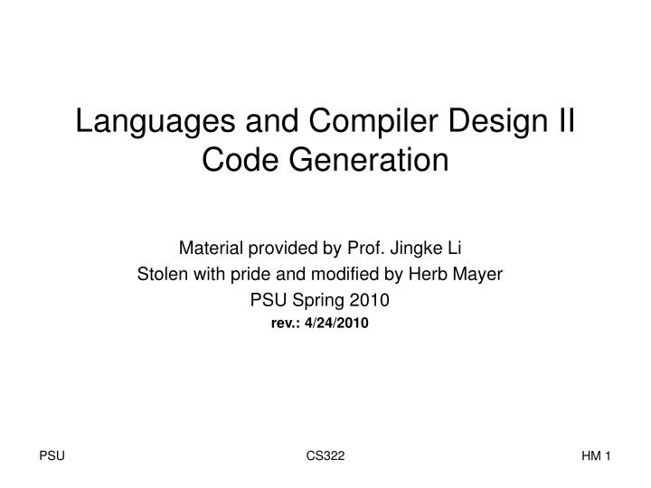 languages and compiler design ii code generation n.