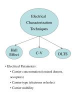 Electrical Characterization Techniques