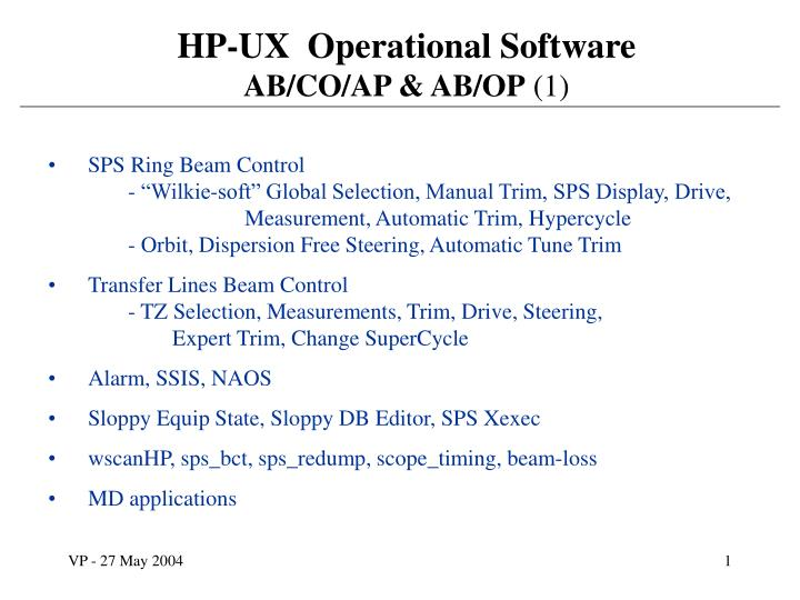 PPT - HP-UX Operational Software AB/CO/AP & AB/OP (1) PowerPoint