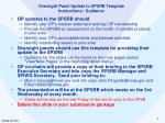 Oversight Panel Update to SPSRB Template Instructions / Guidance