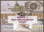 Module N° 2 Basic safety management concepts