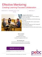 Effective Mentoring: Creating Learning Focused Collaboration