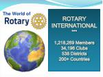 ROTARY INTERNATIONAL *** 1,218,269 Members 34,196 Clubs 538 Districts 200+ Countries