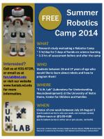 WHAT ~ Research study evaluating a Robotics Camp