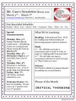 Mr. Case's Newsletter /Room 202 March 3 rd  –  March 7 th