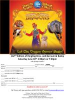 142 nd  Edition of Ringling Bros. and Barnum & Bailey Saturday June 30 th  3:00pm or 7:00pm