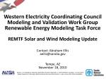 Wind/Solar Modeling Discussion