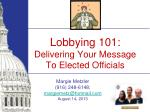 Lobbying 101: Delivering Your Message To Elected Officials