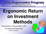 Ergonomic Return on Investment Methods