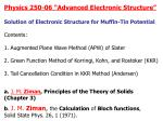 """Physics 250-06 """"Advanced Electronic Structure"""""""