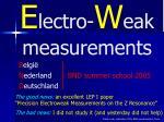 E lectro- W eak measurements