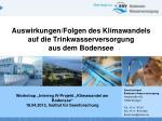 Auswirkungen/Folgen des Klimawandels auf die Trinkwasserversorgung aus dem Bodensee