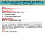 HAILEY COLLEGE OF BANKING & FINANCE University of the Punjab, Lahore
