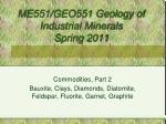 ME551/GEO551 Geology of Industrial Minerals Spring 2011