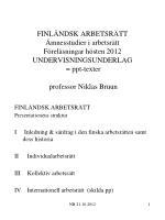 FINLÄNDSK ARBETSRÄTT Presentationens struktur
