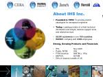 About IHS Inc. Founded in 1959 : To provide product catalogues for aerospace engineers