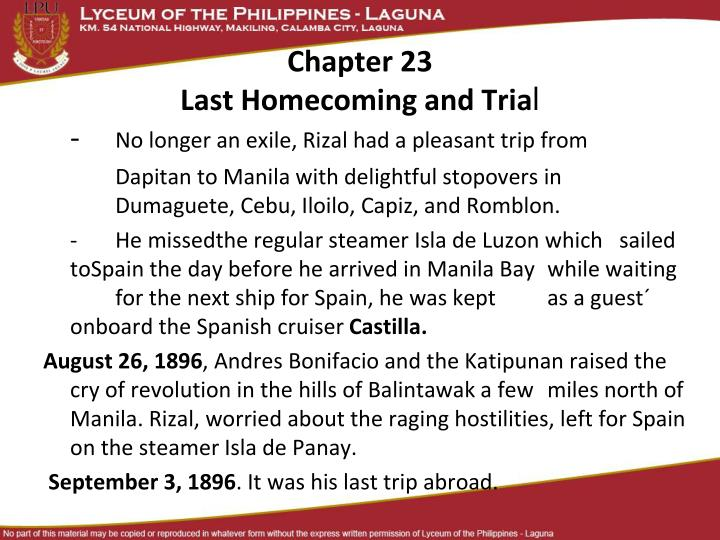 chapter 23 last homecoming and tria l n.
