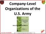 Company-Level Organizations of the U.S. Army