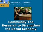 Community-Led Research to Strengthen the Social Economy