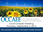 Local Chapter Meeting Thursday, September 5, 2013