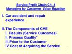 Service Profit Chain Ch. 3 Managing by  C ustomer  V alue  E quation