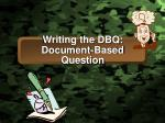 Writing the DBQ: Document-Based Question