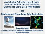 David Dowell Cooperative Institute for Mesoscale Meteorological Studies Norman, Oklahoma