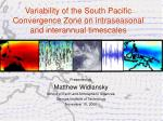 Variability of the South Pacific Convergence Zone on intraseasonal and interannual timescales