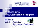 DEED WorkForce Center RRA Certification Program