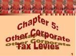 Chapter 5: Other Corporate Tax Levies
