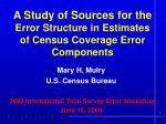 A Study of Sources for the  Error Structure in Estimates  of Census Coverage Error Components