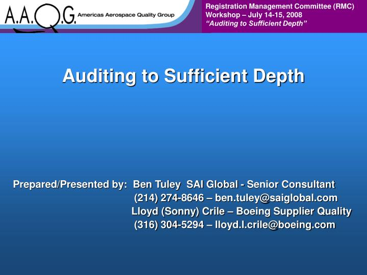 auditing to sufficient depth n.