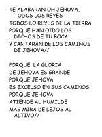 TE ALABARAN OH JEHOVA, TODOS LOS REYES TODOS LO REYES DE LA TIERRA