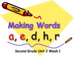 Making Words a , e , d, h, r