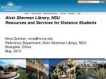 Alvin Sherman Library, NSU Resources and Services for Distance Students
