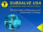 SUBSALVE USA ENGINEERED FROM THE BOTTOM UP!