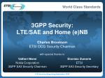 3GPP Security: LTE/SAE and Home (e)NB