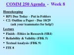 COMM 250 Agenda   -  Week 8