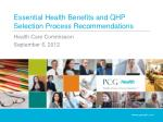 Essential Health Benefits and QHP Selection Process Recommendations