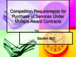 Competition Requirements for Purchase of Services Under Multiple Award Contracts