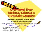 Overview of Error Resiliency Schemes in H.264/AVC Standard