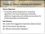 Theme III: Process Planning and Validation