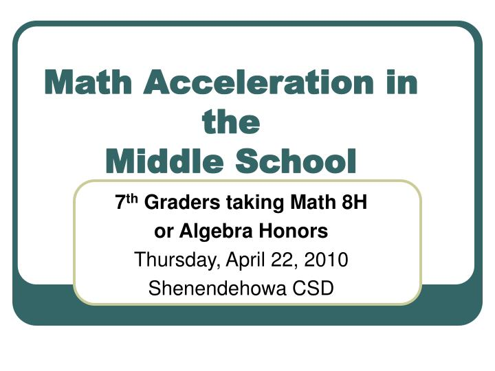 math acceleration in the middle school n.