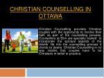 Christian Counsellor In Ottawa