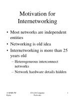 Motivation for Internetworking