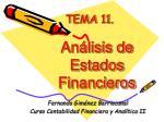 TEMA 11 . Análisis de Estados Financieros